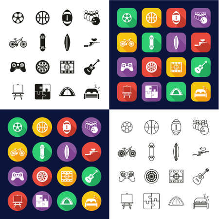 Free Time Or Hobby Icons All in One Icons -Black & White-Color Flat Design-Thin Line- Set Ilustrace