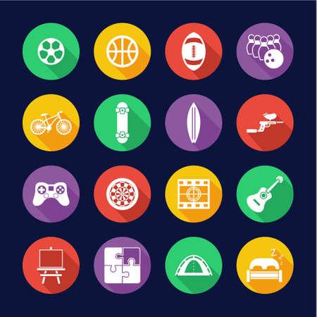 Free Time Or Hobby Icons Flat Design Circle Set