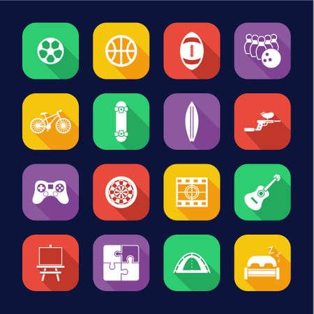 Free Time Or Hobby Icons Flat Design Set Ilustrace