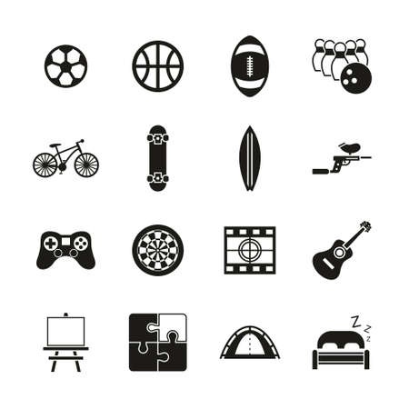 Free Time Or Hobby Icons Black & White Set