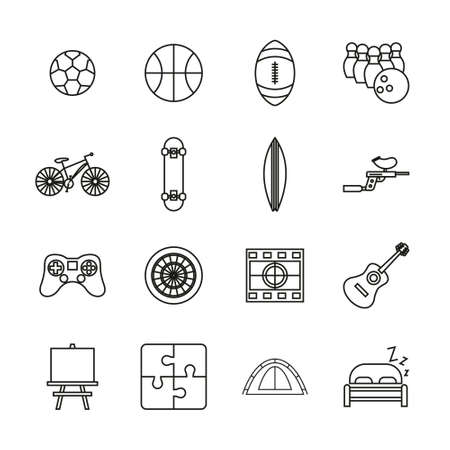 Free Time Or Hobby Icons Thin Line Set Ilustrace