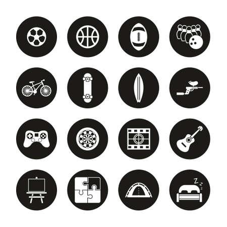 Free Time Or Hobby Icons White On Black Circle Set Ilustrace