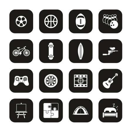 Free Time Or Hobby Icons White On Black Set