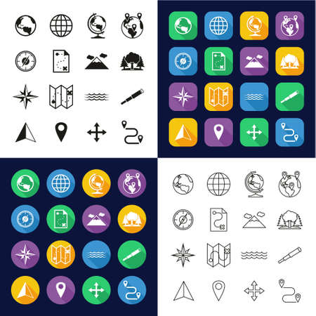 Geography Icons All in One Icons -Black & White-Color Flat Design-Thin Line- Set