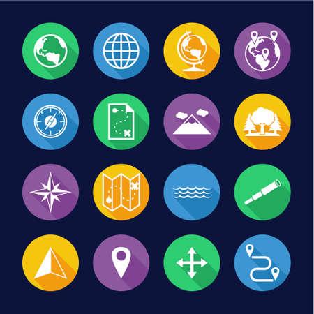 Geography Icons Flat Design Circle Set