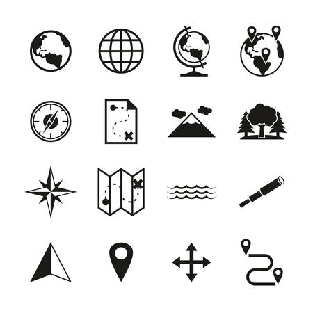 Geography Icons Black & White Set