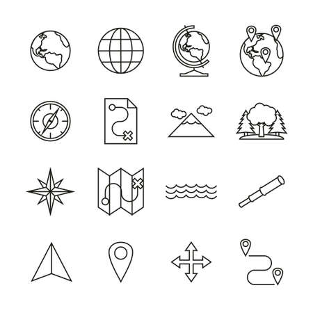Geography Icons Thin Line Set Ilustrace