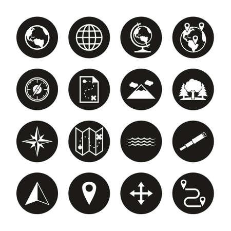 Geography Icons White On Black Circle Set Ilustrace