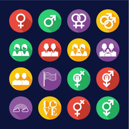 Homosexual Icons Flat Design Circle Set Stok Fotoğraf - 132967737