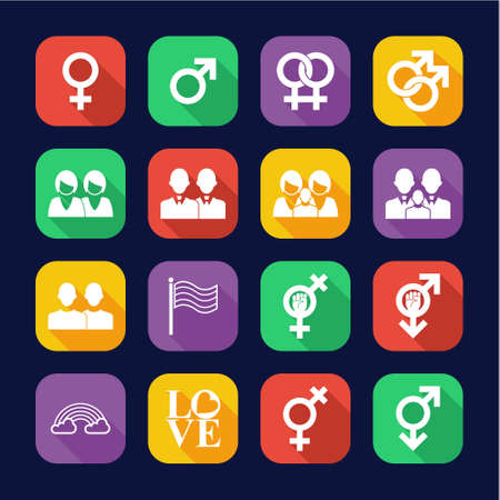 Homosexual Icons Flat Design Set Stok Fotoğraf - 132967738