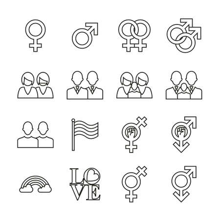 Homosexual Icons Thin Line Set Ilustrace