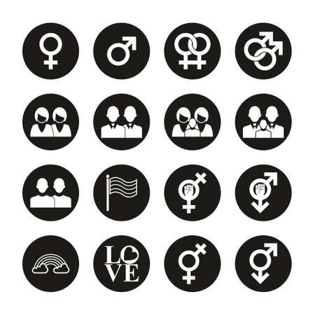 Homosexual Icons White On Black Circle Set Stok Fotoğraf - 132967740