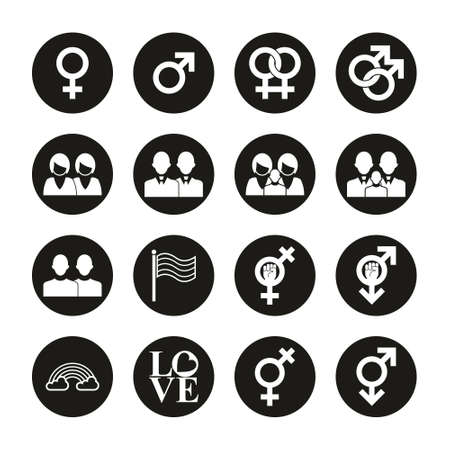 Homosexual Icons White On Black Circle Set Illustration