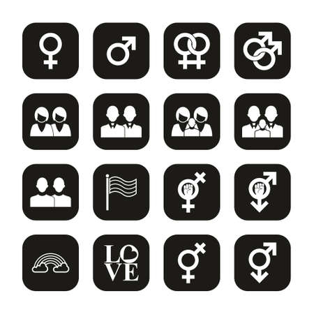 Homosexual Icons White On Black Set
