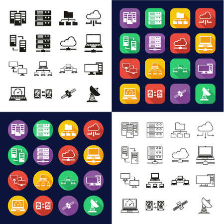 Hosting Or Server Icons All in One Icons -Black & White-Color Flat Design-Thin Line- Set