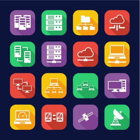 Hosting Or Server Icons Flat Design Set