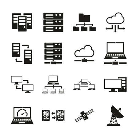 Hosting Or Server Icons Vlack & White Set