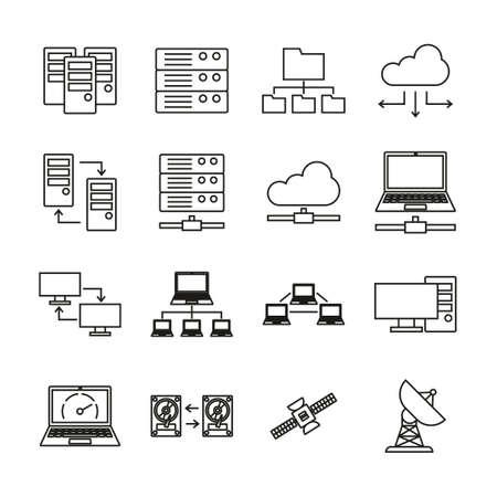 Hosting Or Server Icons Thin Line Set