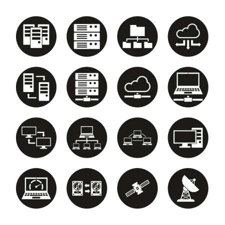 Hosting Or Server Icons White On Black Circle Set 일러스트