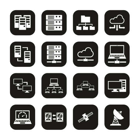 Hosting Or Server Icons White On Black Set 일러스트