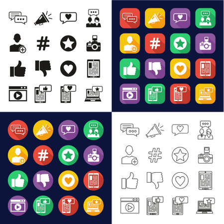 Influencer Icons All in One Icons -Black & White-Color Flat Design-Thin Line- Set Ilustrace
