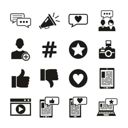 Influencer Icons Black & White Set