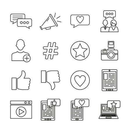Influencer Icons Thin Line Set
