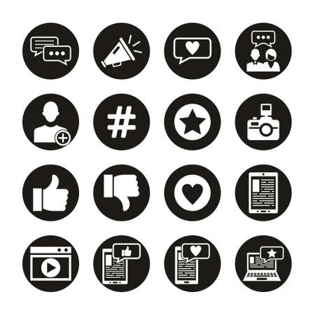 Influencer Icons White On Black Circle Set