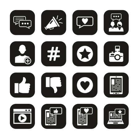 Influencer Icons White On Black Set