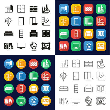 Interior Design Icons All in One Icons -Black & White-Color Flat Design-Thin Line- Set Ilustrace