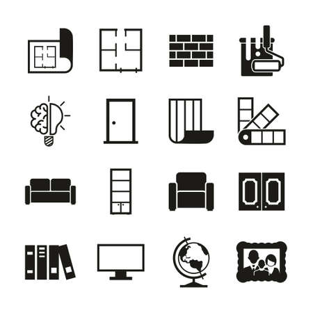 Interior Design Icons Black & White Set