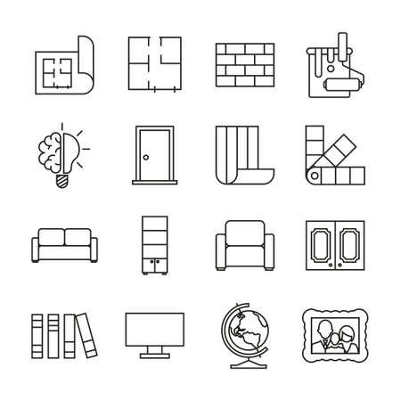 Interior Design Icons Thin Line Set