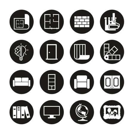 Interior Design Icons White On Black Circle Set