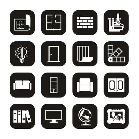 Interior Design Icons White On Black Set