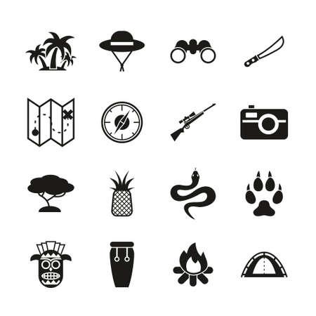 Jungle Exploring Icons Black & White Set