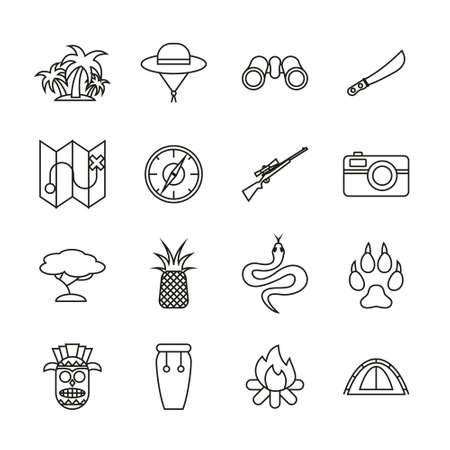 Jungle Exploring Icons Thin Line Set