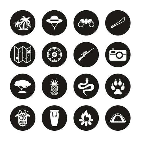 Jungle Exploring Icons White On Black Circle Set