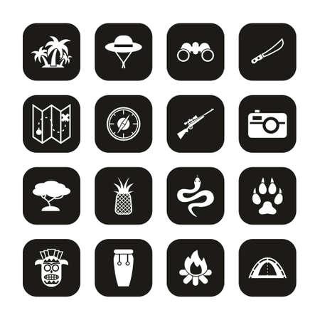 Jungle Exploring Icons White On Black Set