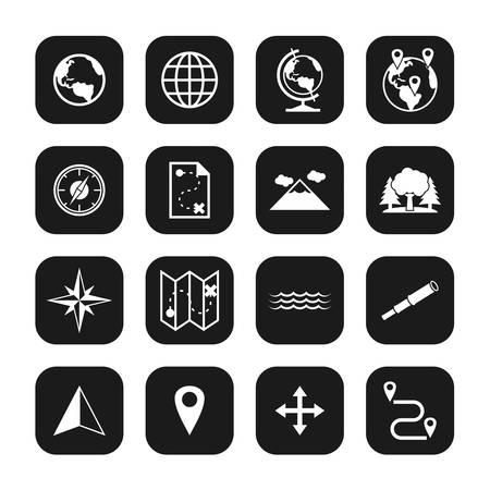 Geography Icons White On Black Set Ilustrace