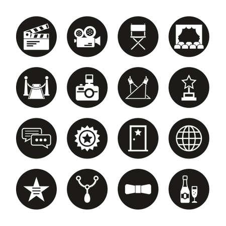 Hollywood Icons White On Black Circle Set