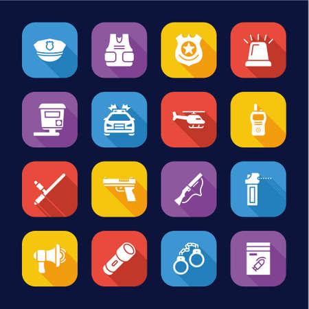 Police Highway Patrol Icons Flat Design Set Ilustrace