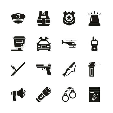 Police Highway Patrol Icons Black & White Set