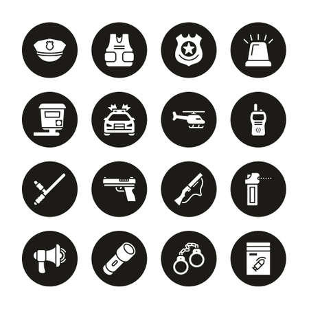 Police Highway Patrol Icons White On Black Circle Set