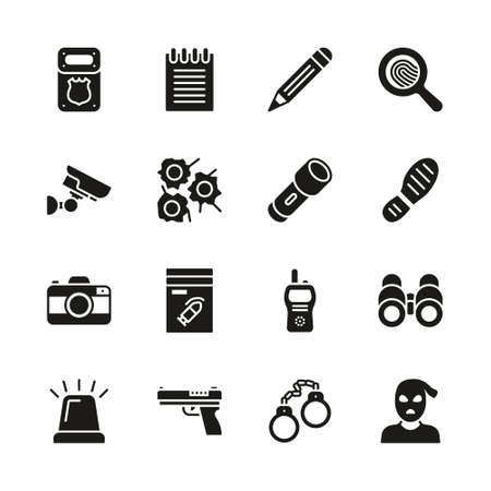 Police Detective Icons Black & White Set