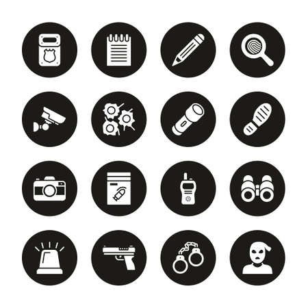 Police Detective Icons White On Black Circle Set