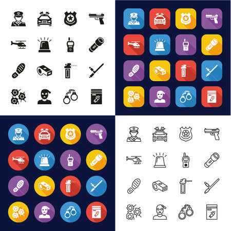 Police Icons All in One Icons -Black & White-Color Flat Design-Thin Line- Set Ilustrace