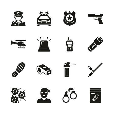 Police Icons Black & White Set