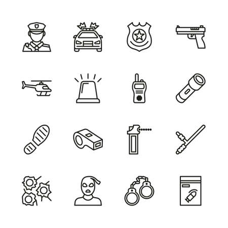 Police Icons Thin Line Set