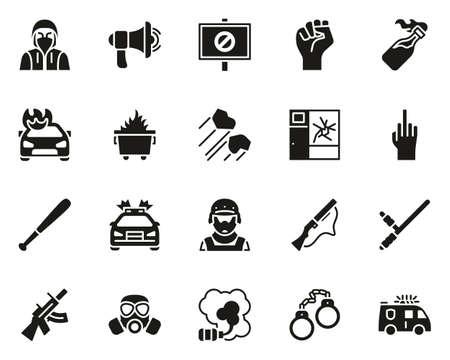 Riot or Public Disturbance Icons Black White Set Big