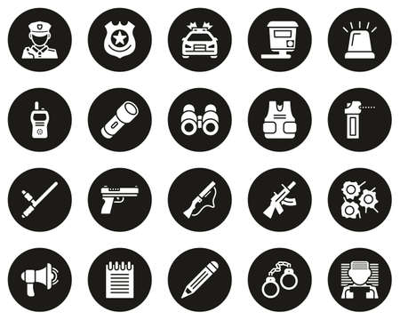 Police Highway Patrol Icons White On Black Circle Set Big
